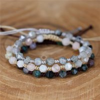 YueTong Natural Stone Beaded Bracelet Handmade Braided Bracelets Adjustable Wrap BOHO Fine Jewelry Drop Charm