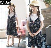 Kızın Elbiseleri Kızlar Yaz Elbise Setleri Çocuk Kısa Kollu Beyaz Örme T-shirt + Çiçek Baskılı Çocuklar Plaj Rahat Giysiler