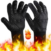 Cycling Gloves 1Pair Thicken Silicone BBQ Grilling Cooking Extreme Heat Resistant Oven Welding Kitchen Dish Washing Mittens