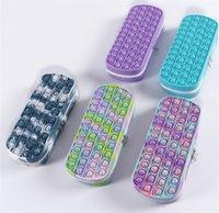 Tie Dye Simple Dimple Sensory Pop Pen Bag Silicone Phone Straps Decompression Toy Fidget Game Controlller Pops Pencil Cases For School Student