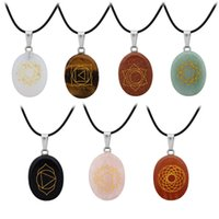 Carve religious yoga symbol chakras Healing Natural Stone Necklace Pink Tiger's Eye Rose Quartz Crystal Charms Necklaces Jewelry Women