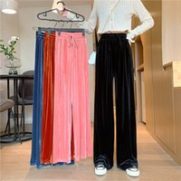 Printemps automne femmes pantalons mode coréen rue wide jambe jambe pantalons femmes décontracté femmes vêtements élastiques taille de survêtement femme