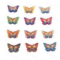 縫製の概念混合色アクリルの吹き付けカボコンカラフルな蝶と穴の平らな背中ラインストーンの装飾品DIY結婚式のアップリケ工芸ベビーシャワーの装飾