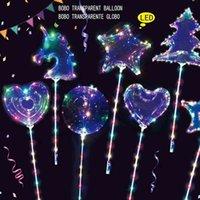 핸들 플래시 라이트 LED Bobo 공 플래시 투명한 맑은 풍선 스타 서클 라운드 유니콘 하트 사랑 크리스마스 트리 모양 웨딩 파티 풍선 LY6803