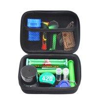 Premium-Tabak-Tasche-Set-Plastikraucher-Raucher-Kräuter-Kräuter-Speicher-Leiche-Metall-Zinn-Silikon-Rohr ein Hitter-Dugout-Walzgerät