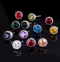 Top Sell Simple Fashion Jewelry 8MM Round Cut Multi Gemstones Sapphire CZ Diamond Women Wedding Crown Stud Earring Gift wjl4161