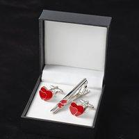 Высокое качество красного сердца запонки и для мужчин галстук клип эмаль запонки свадебный галстук булавки подарочная коробка установить подарки