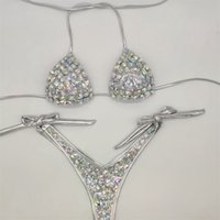 Venus Vacation New Style Diamond Diamond Bikini Set Bandaggio Apri Costumi da bagno Push up Strass Bling Pietre Costume da bagno Sexy Donne Swim 210409