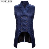 Men's Vests Mens Paisley Jacquard Steampunk Vest Double Breasted Brocade Waistcoat Men Wedding Prom Stage Tuxedo Male Gilet Homme 2XL