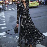 Casual Dresses Bohemian Style Women Dress Sexy Vintage Maxi Polka Dot V-Neck Wrap Elegant Evening Party High Waist