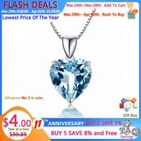 Yanhui 100% 925 Sterling Silver Sapphire Luxury Woman Crystal Pendant Necklace Fine Jewelry