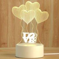 Creative 3D Night Lights Acrylic Desktop Nightlight Boys and Girls Holiday Gift Decorative Lamps Bedroom Bedside Table Lamp Love balloon