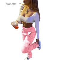 المرأة السراويل الصوف الدافئة سميكة مكدسة sweatpants بالجملة الشارع الشهير الرباط مضيئة الاتجاه ركض الإناث الرياضة بانت