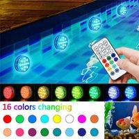 16 couleurs changeant la nuit de lumière submersibles lumières LED lumières modes de la batterie Télécommande Powered Lampes d'alimentation extérieure IP68 imperméable vase de jardin de jardin de jardin