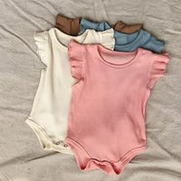Baby Clothes Girls Ribbed Clothing Sets Ruffled Romper Top + High Waist Shorts 2pcs set Summer Clothing Sets Boutique Infants Outfits BT6496
