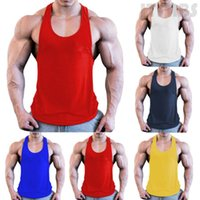 Mens Bodybuilding Stringer Tank Top Y-Back Gym Workout Sports Vest Shirt Clothes Men's Tops