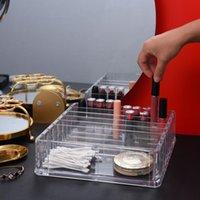 Şeffaf Akrilik Makyaj Organizatör CC Krem Saklama Kutusu Organizador Maquillaje Plastik Kozmetik Tutucu Kabine Tozu Ekran Kutuları Bineler