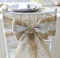 Party Saciosts 15 * 240 см Естественно элегантные мешковины кружевные стулы головущие джутовые кресла галстука лук для деревенского свадебного украшения событий CCA6845