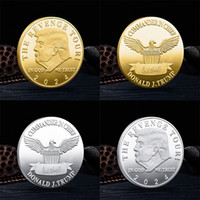 Trump 2024 Commemorative Coins Gold-plated Silver-plated Virtual Coin Crafts Collect Metal Badge 2 Styles