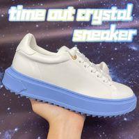 أعلى جودة الوقت خارج كريستال سنيكر إمرأة عارضة أحذية جامعة بلو وردي أبيض أزياء أزياء المرأة فالوسي تصميم أحذية رياضية الحجم 35-40