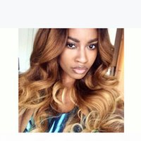 Ombre Color Brazilian Human Hair Glueless Lace Front Wigs Wavy Ombre Full Lace Human Hair Wigs For Black Women Middle part