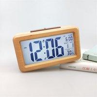 Sveglia digitale in legno, luce notturna sensore con snooze date temperatura orologio a led orologio da tavolo orologi da parete CCF7115