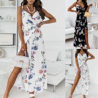 Vestidos informales 2021 Vestido de la eslinga de verano Flower Print Belt Hard Falda Larga Fashion Beach Vacaciones Mujeres Trendy Ropa para mujer