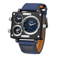 Relojes de pulsera Relojes para hombre Top OULM 3595 Diseñador único Hombres Moda Cuadrado Cara grande 3 Zona horaria Reloj de cuarzo casual