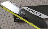 TwoSun Knives 14C28N Blade Titanium Ball Fast Open Pocket Folding Knife TS318