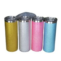 Sublimation 20oz Glitter Straight Skinny Tumblers with Straw Lid Stainless Steel Double Wall Insulated Vacuum Powder Coating Water Bottles DIY Coffee Mugs Cups