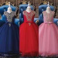 Fancy PrincParty Dresses for Girls Long SleevelFlower Party Ball Gown Evening Dresses Kid Prom Wedding Children Dress X0509