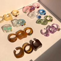 Colourful Transparent Resin Acrylic Band Rings New Vintage Rhinestone Geometric Square Index Finger Ring for Women Jewelry Mixed Bulk C3