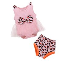 Bebek Giyim Setleri Kız Kıyafetler Bebek Giysileri Çocuk Takım Elbise Yaz Pamuk Dantel Leopar Prenses Romper Tulum Şort 0-2T B5276