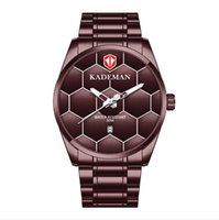 KADEMAN Brand High Definition Luminous Mens Watch Quartz Calendar Watches Leisure Simple Football Texture Stainless Steel Band Wristwatches