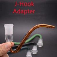 Colorido vidrio J-gancho adaptador Creativo Tubo de vidrio 14.4mm 18 mm hembra Masculino Tamaño de la articulación J Ganchos para agua de aceite de agua Bong