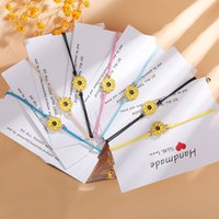 2021 New Fashion Couple Bracelets Sun Moon Cross Sunflower Pendant Adjustable Rope Chain Bracelet Lucky Friendship Jewelry