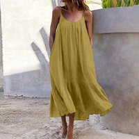 Casual Dresses 4# Tropical Solid Plus Size Dress Women Sexy Halter Backless Sleeveless Maxi Beach Style Summer 2021 Vestidos Robe