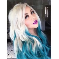 2021 fashion synthetic Body Wave style Blonde Lace Front Wigs Ombre Blue color wig simulation Human Hair
