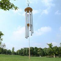 그레이스 깊은 공진 홈 골동품 금속 나무 6 튜브 윈키메 채플 벨 바람 종일 장식 수공예 선물 DWA4853