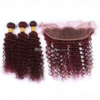 4шт лота глубокая волна 99J наращивание волос с фронтальной бордовой свободной частью 99J ухо до ушей фронтальные с глубокими вьющимися человеческими волосами 3