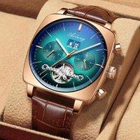 Tasarımcı İzle Marka Saatler Lüks İzle Montre Automatique Luxe Chronograph Kare Büyük Arama Hollow Su Geçirmez Erkek Moda