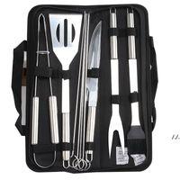 9 teile / satz Edelstahl BBQ Werkzeuge Outdoor Barbecue Grillgeräte mit Oxford Taschen Edelstahl Grill Clip Pinsel Messer Kit Dwe7512
