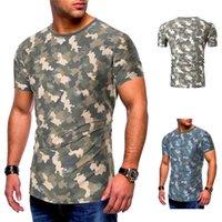 Camuflaje camiseta de los hombres camisas redondas camisas con el agujero Casual Tee Fashion Tess Tees fresco diseño de manga corta para hombre Tops de verano Tops de verano Ropa de moda