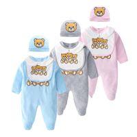 Modo di moda neonato vestiti a maniche lunghe in cotone a maniche lunghe unisex cartoon piccolo orso neonato bambino neonato ragazza pagliaccetto e cappello bavaglini set