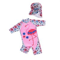 One-Pieces Kids Swimwear Hats Suits Flamingo Flower Baby Swimming Girls Swimsuit Bathing Children Clothes Love 2Pcs 1-6Y B5356