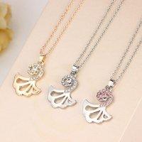 Neue Art und vielseitige Frauen Halskette Rosa Diamant Mermaid Fischtail Zubehör OJSA719
