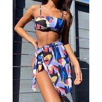 Women's Swimwear 3 Piece Set Bikini 2021 Women Swimsuit Cover Up Female Bikinis Summer Beach Swimming For Bathing Suit Dress