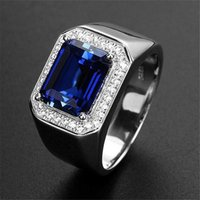 Choucong Handmade Wedding Rings Simple Fashion Jewelry 925 Sterling Silver Radiant Cut Blue Sapphire Gemstones Party Male Engagement Band Rin For Men Gift