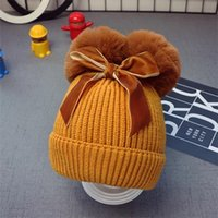 Fashion 9styles Double Fur Ball Bow Hats Baby Pom Pom Beanie Cap Toddler Kids Baby Girls Winter Warm Crochet Knitted Hat Accessories Caps