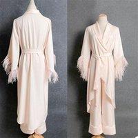 Wraps & Jackets Two Pieces V Neck Women Dressing Gown Gentle Fur Silk Wedding Party Pajamas Bathrobes Bride Boudoir Sleepwear Nightgowns